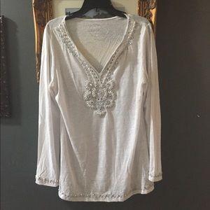 INC linen embellished tunic